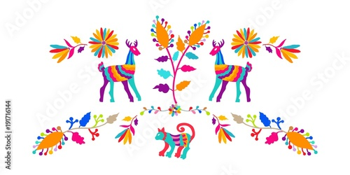Vector folk Mexican Otomi Style embroidery Pattern