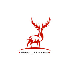 Christmas deer vector illustration.