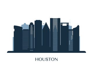 Houston skyline, monochrome silhouette. Vector illustration.