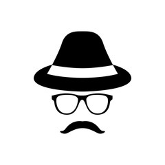 Retro gentleman icon with glasses, hat and mustache. Vector illustration.