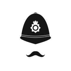 British policeman in helmet. Police avatar. Vector illustration.