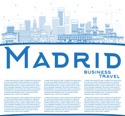 Outline Madrid Spain City Skyline with Blue Buildings and Copy Space.