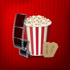 Popcorn, film strip and tickets
