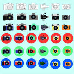 36 beautiful camera icons and video cameras