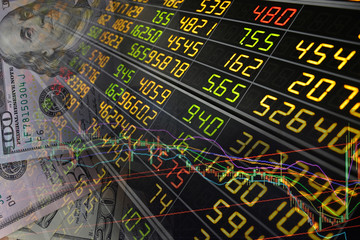 Display of Statistic graph index of stock Market and (USD) currency money background