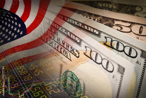 American Flag And Banknotes Usd Currency Money On Stock Market