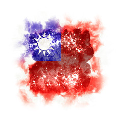 Square grunge flag of taiwan