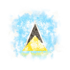 Square grunge flag of saint lucia