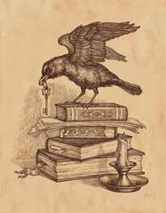 Ворон с ключом, старинные книги и свеча, рисунок на старой бумаге.