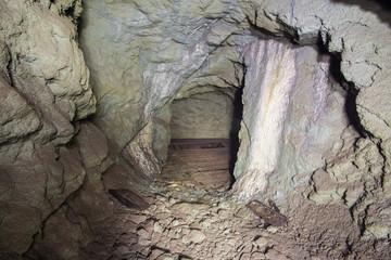 Underground abandoned gold ore mine shaft tunnel gallery