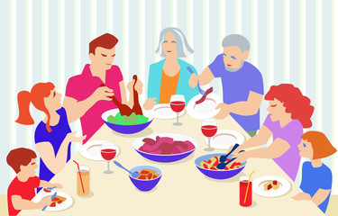 Vector Illustration from big family celebrating. Grandparents, parents and children at table eating and speaking