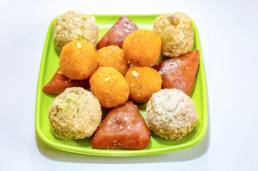 Traditional Bengali Indian sweets dessert in selective focus