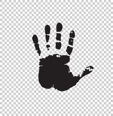 Black silhouette of human hand print isolated