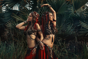 two beautiful tribal fusion belly dancers in costumes outdoors at sunset