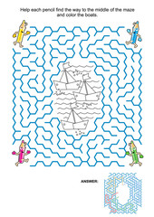 Maze game and coloring page for kids: Help the pencils get to the black and white drawing and color the boats! Answer for maze included.