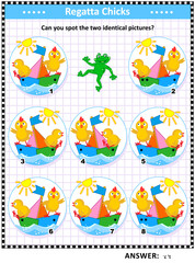 Spring or summer themed visual puzzle with sailor chicks and colorful boats: Can you spot the two identical pictures? Answer included.