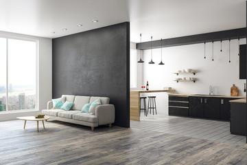 Modern studio interior with copyspace