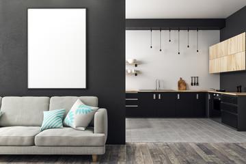 Modern studio interior with empty billboard