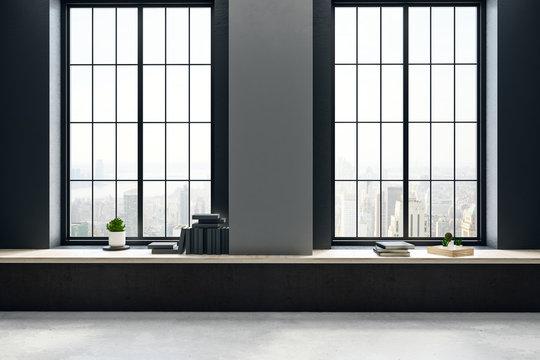 Black concrete interior