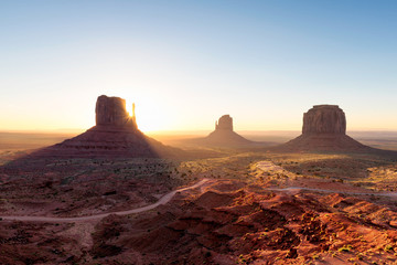 Arizona landscape at sunrise, Monument Valley, Navajo Tribal Park.