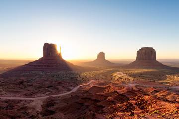 Arizona landscape at sunrise, Monument Valley, Navajo Tribal Park.