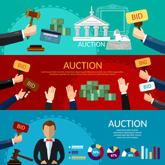 Auction and bidding banners. Selling antiques sale paintings art object culture. Auction bidding art concept vector