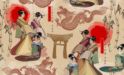 Japanese and Chinese culture seamless pattern. Geishas and dragons. Traditional Japanese culture, red sun, dragons and geisha woman pattern. Japan art