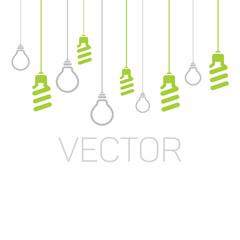 Vector fluorescent and ordinary light bulbs.