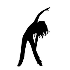 Vector silhouette of woman who sport on white background.