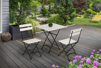 white wooden garden furniture