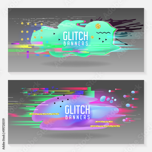 Abstract Designs In Glitch Style Trendy Background Templates With