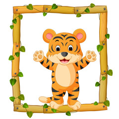 Tiger on the wood frame with roots and leaf