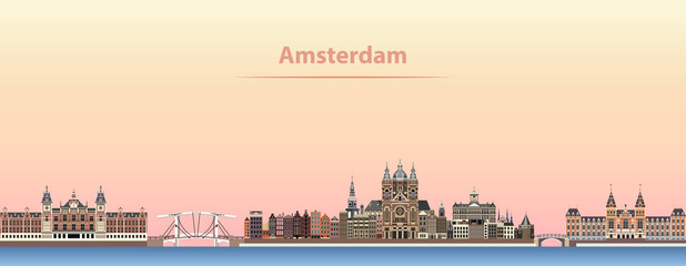 vector abstract illustration of Amsterdam city skyline at sunrise