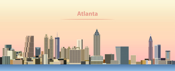 vector abstract illustration of Atlanta city skyline at sunrise