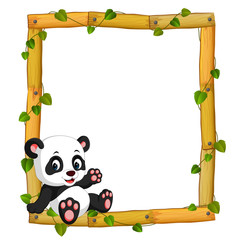 Panda on the wood frame with roots and leaf