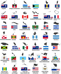vector flags and maps of North American countries