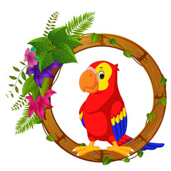 Parrot on round wood frame with flower