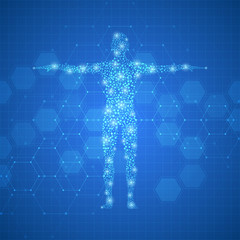 Human body with molecules DNA on medical abstract background.