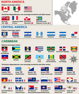 vector isolated flags of North America(include Central America and Caribbean countries)