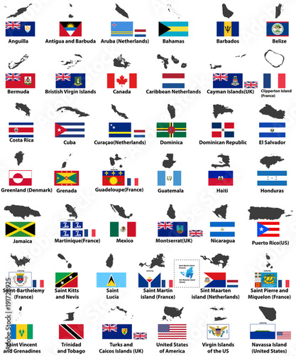 vector flags and maps of North American countries\