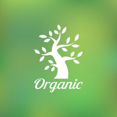 Organic green tree logo, eco emblem, ecology natural symbol. Vector illustration