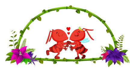 frame of bamboo and couple ant