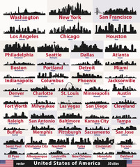 Fototapete - vector set of United States abstract city skylines silhouettes