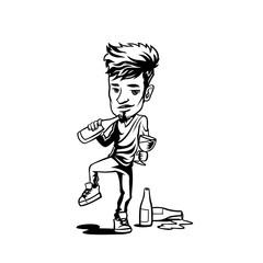 Minimal logo of big head with small body hand sketch draw vector illustration.