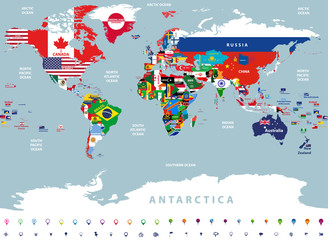vector high detailed illustration of map of the world jointed with countries flags