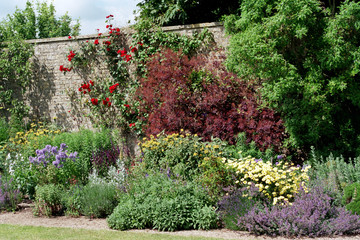 Stone walled garden border