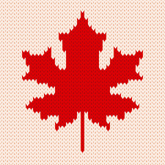 Maple leaf on white - Seamless knitting pattern