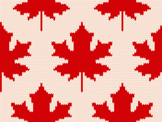 Maple leaves on white - Seamless knitting pattern
