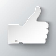 thumb up applique. Vector illustration.