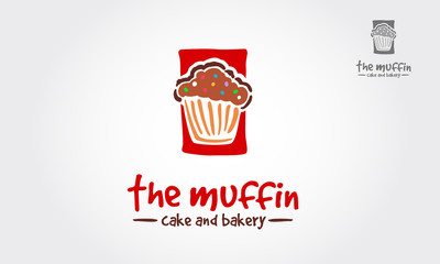 Muffin cafe or bakery vector logo illustration
